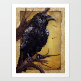 The Raven - polymer clay painting/lightbox Art Print
