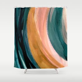Breathe: a vibrant bold abstract piece in greens, ochre, and pink Shower Curtain