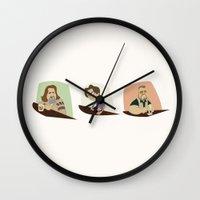the big lebowski Wall Clocks featuring Big Lebowski Conversation Triptych by Mutant Ninja
