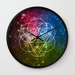Seed of Life with Triangles - Sacred Geometry - Rainbow Colors - Galaxy Art - Universe - Yoga - Wall Clock