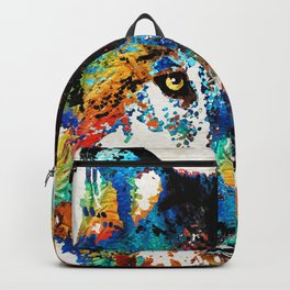 Wolf Art Print - Hungry - By Sharon Cummings Backpack