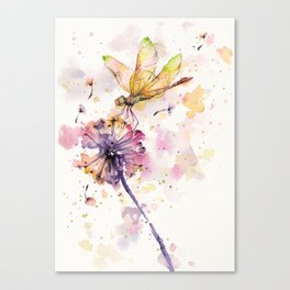 Dragonfly & Dandelion Dance Canvas Print