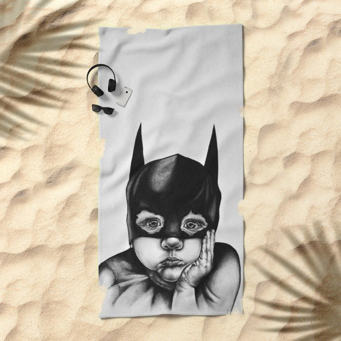 Waiting For a Hero (Bat Boy) Beach Towel