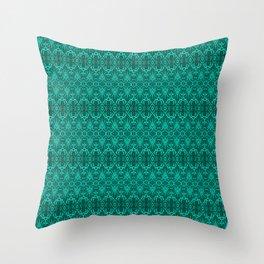 Cyan Damask Pattern Throw Pillow