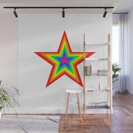 Bright Hypnotic Rainbow Pride Star Wall Mural