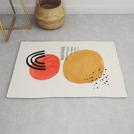 Floating Sun Yellow & Orange Mid Century Modern Colorful Minimalist Shapes Patterns by Ejaaz Haniff Rug