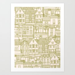 cafe buildings olive Art Print