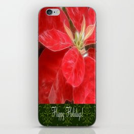 Mottled Red Poinsettia 1 Ephemeral Happy Holidays S6F1 iPhone Skin