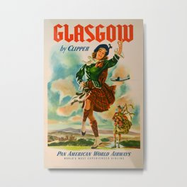Glasgow by Clipper Vintage Travel Poster Metal Print