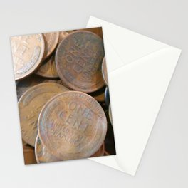 Watercolor Coins, Lincoln Wheat Pennies, One Cent 01 Stationery Cards