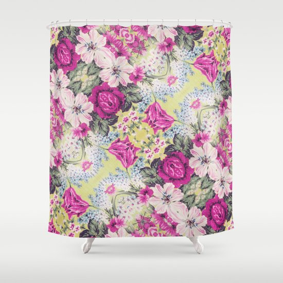 Trendy Vintage Purple Teal Floral Fashion Pattern Shower Curtain