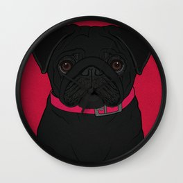 Icons of the Dog Park: Black Pug Design in Bold Colors for Pet Lovers Wall Clock