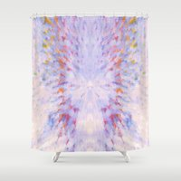 rush Shower Curtains featuring Rainbow Rush by Bud M