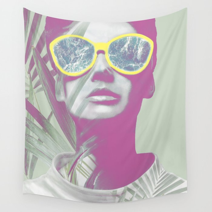 Watching Ocean behind the Palm Leaves Wall Tapestry