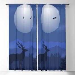 Mystical Night in the Mountains Blackout Curtain