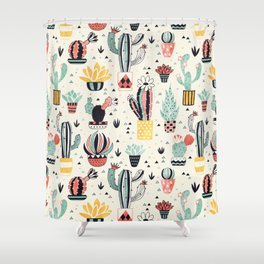 Cacti in a Flower Pot Shower Curtain