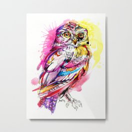 Neon Northern Pygmy Owl Metal Print