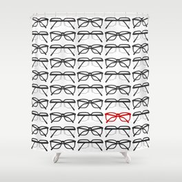 Optometrist Black and Red Frames Pattern Print Shower Curtain