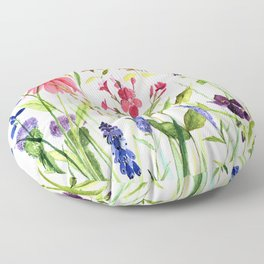 Botanical Colorful Flower Wildflower Watercolor Illustration Floor Pillow