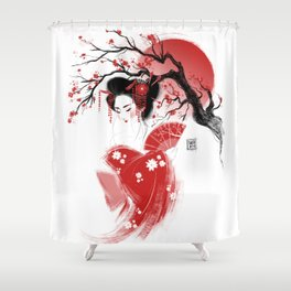 Red Geisha Shower Curtain