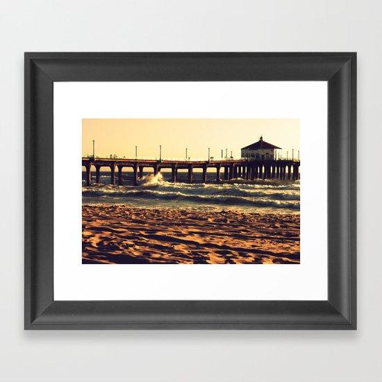 Crashing on the Manhattan Beach Pier Framed Art Print