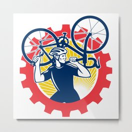 Cyclist Bicycle Mechanic Carrying Bike Sprocket Retro Metal Print