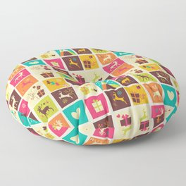 Christmas square pattern 02 Floor Pillow