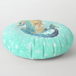 Glitter Mermaid Seahorse Floor Pillow