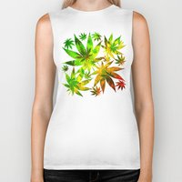 marijuana Biker Tanks featuring Marijuana Leaves Rasta Colors by BluedarkArt