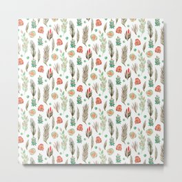 Modern pink brown green watercolor floral leaves pattern Metal Print