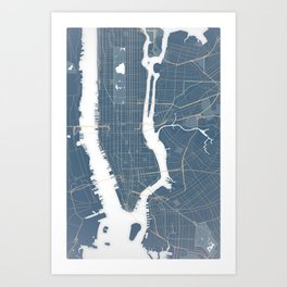 New York City - Detailed Road & Subway Map Art Print