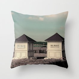 Del Beach Huts Throw Pillow
