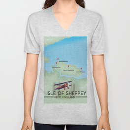 Isle of Sheppey map Unisex V-Neck