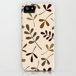 Assorted Leaf Silhouettes Gold Browns Cream iPhone Case