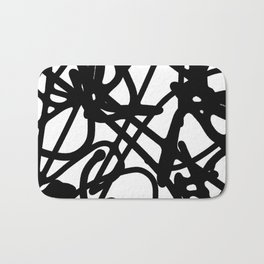 Meaningless - Black and white expressive painting Bath Mat