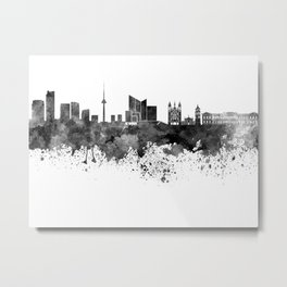 Vilnius skyline in black watercolor on  white background Metal Print