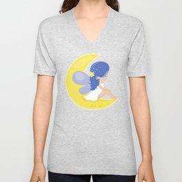 Stardust Fairy, Fairy Sitting On The Moon, Stars Unisex V-Neck