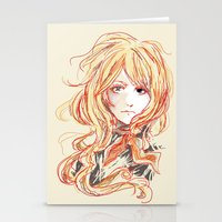 enjolras Stationery Cards featuring Enjolras w/ red lines by The Eggplant Market