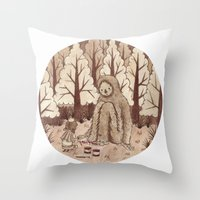 bigfoot Throw Pillows featuring Bigfoot by Najmah Salam