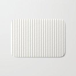 Silver Moss Pinstripe on White Bath Mat