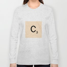 Scrabble Tile C - Large Scrabble Letters Long Sleeve T-shirt