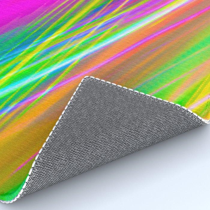 neon saturn waves Rug
