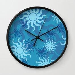 Circle Sun Pattern blue turquoise Wall Clock