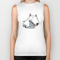 bull terrier Biker Tanks featuring Bull Terrier by Jaume Tenes