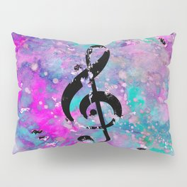 Artistic neon pink teal black watercolor classical music note Pillow Sham