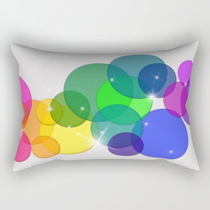 Translucent Rainbow Colored Circles with Sparkles - Multi Colored Rectangular Pillow