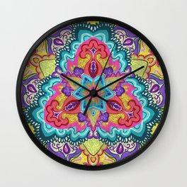 Rainbow Floral Mandala Wall Clock
