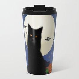 Halloween cat, Halloween, cat, moon, pumpkin, Halloween pumpkin, Halloween night, bats Travel Mug