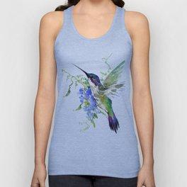 Hummingbird and Blue Flowers Unisex Tank Top