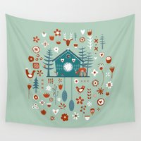 clock Wall Tapestries featuring Cuckoo Clock by Nic Squirrell